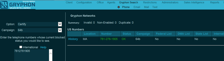 Screenshot of a phone number audit